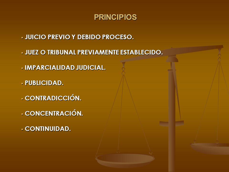 PRINCIPIOS JUICIO PREVIO Y DEBIDO PROCESO. JUICIO PREVIO Y DEBIDO PROCESO. JUEZ O TRIBUNAL PREVIAMENTE ESTABLECIDO. JUEZ O TRIBUNAL PREVIAMENTE ESTABL