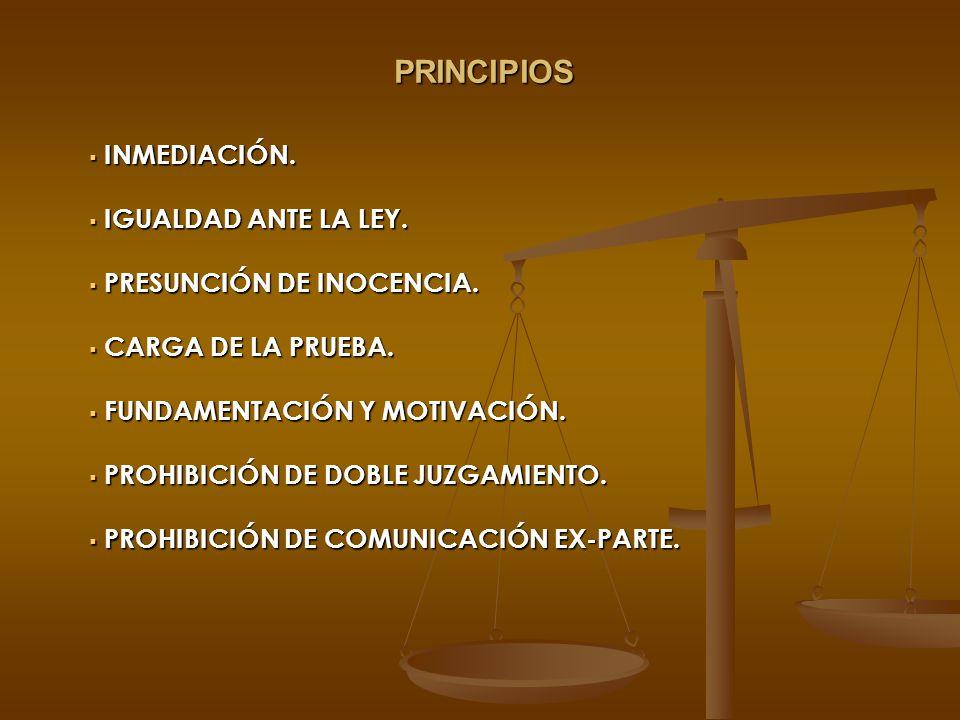 PRINCIPIOS INMEDIACIÓN. INMEDIACIÓN. IGUALDAD ANTE LA LEY. IGUALDAD ANTE LA LEY. PRESUNCIÓN DE INOCENCIA. PRESUNCIÓN DE INOCENCIA. CARGA DE LA PRUEBA.