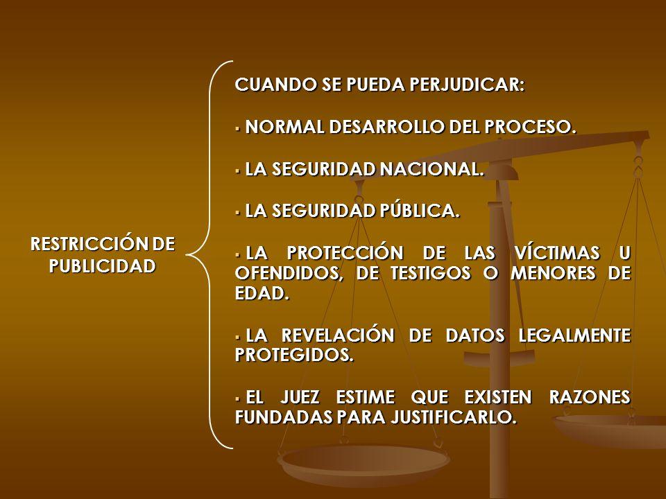 RESTRICCIÓN DE PUBLICIDAD CUANDO SE PUEDA PERJUDICAR: NORMAL DESARROLLO DEL PROCESO. NORMAL DESARROLLO DEL PROCESO. LA SEGURIDAD NACIONAL. LA SEGURIDA