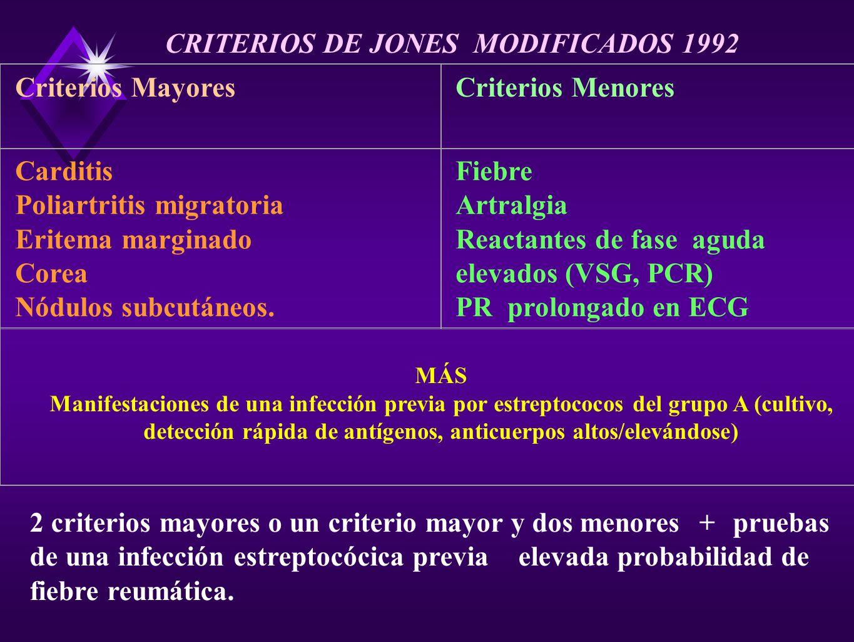Criterios MayoresCriterios Menores Carditis Poliartritis migratoria Eritema marginado Corea Nódulos subcutáneos. Fiebre Artralgia Reactantes de fase a