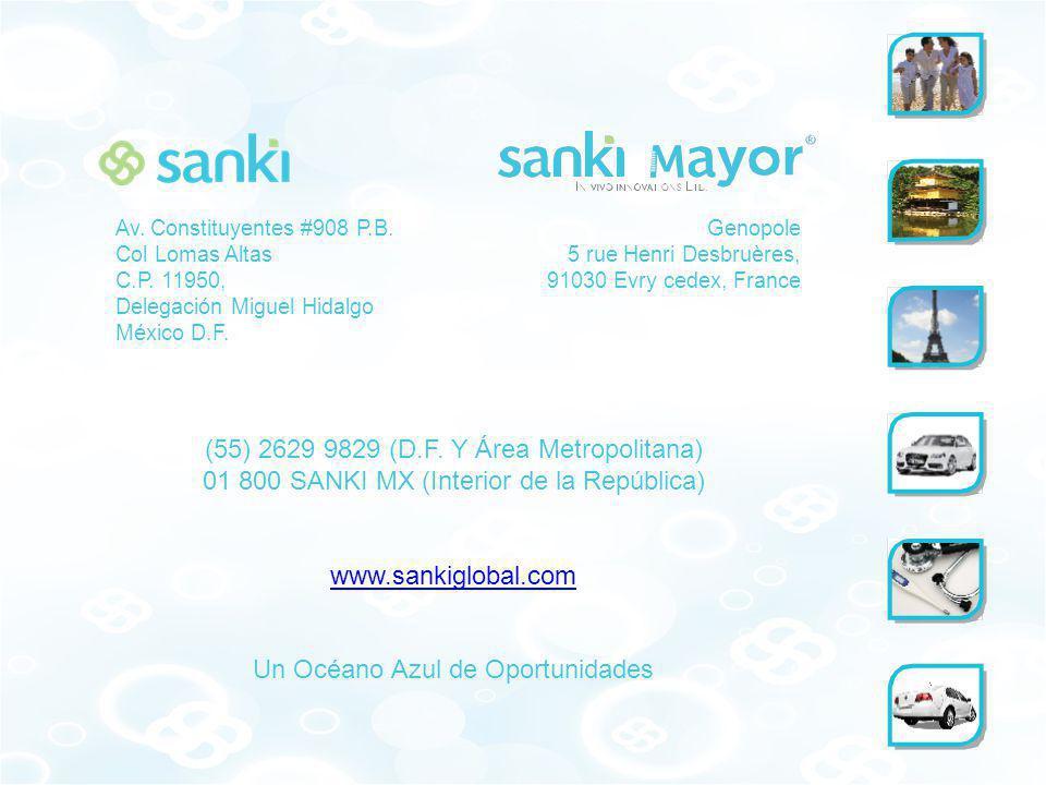 (55) 2629 9829 (D.F. Y Área Metropolitana) 01 800 SANKI MX (Interior de la República) www.sankiglobal.com Un Océano Azul de Oportunidades Av. Constitu