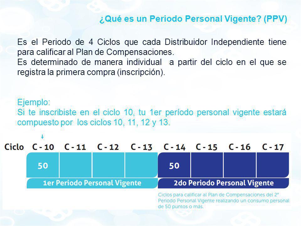 Es el Periodo de 4 Ciclos que cada Distribuidor Independiente tiene para calificar al Plan de Compensaciones. Es determinado de manera individual a pa