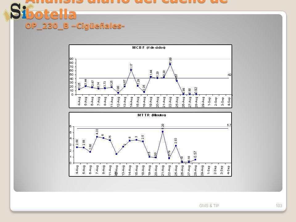 Análisis diario del cuello de botella OP_230_B –Cigüeñales- GMS & TIP103