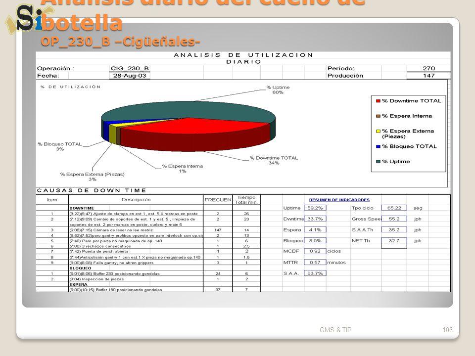 Análisis diario del cuello de botella OP_230_B –Cigüeñales- GMS & TIP106