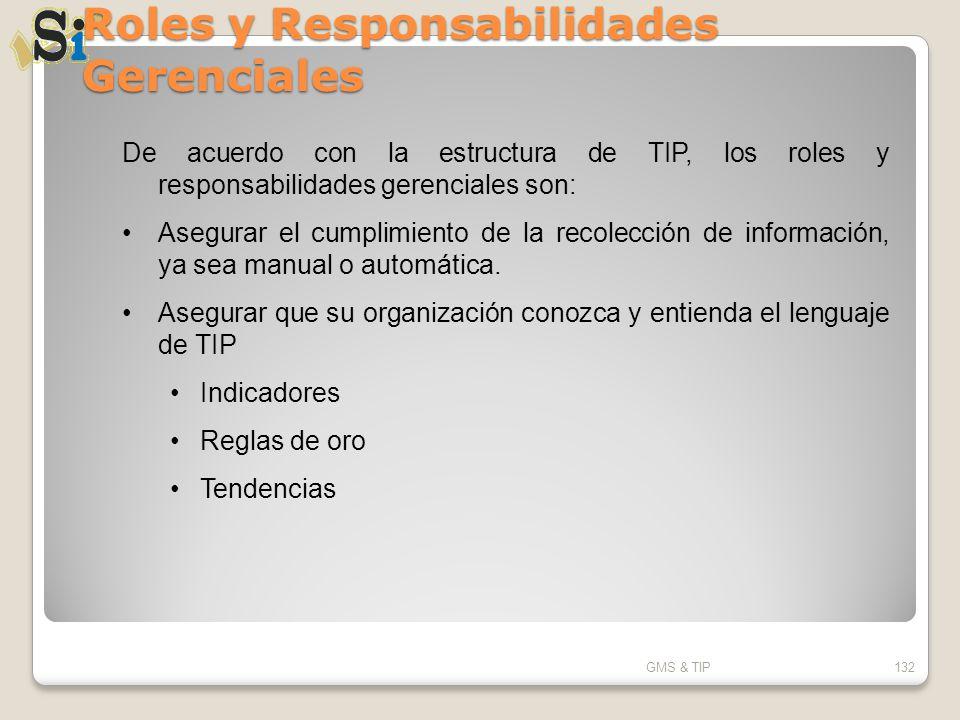 Roles y Responsabilidades Gerenciales GMS & TIP132 De acuerdo con la estructura de TIP, los roles y responsabilidades gerenciales son: Asegurar el cum