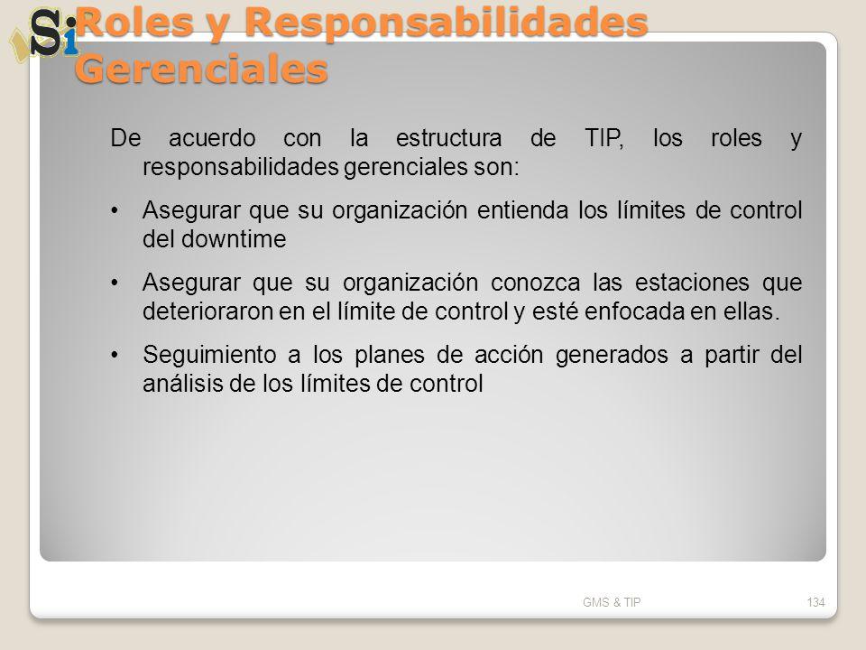 Roles y Responsabilidades Gerenciales GMS & TIP134 De acuerdo con la estructura de TIP, los roles y responsabilidades gerenciales son: Asegurar que su