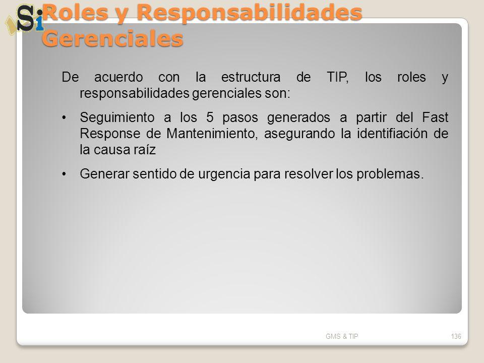 Roles y Responsabilidades Gerenciales GMS & TIP136 De acuerdo con la estructura de TIP, los roles y responsabilidades gerenciales son: Seguimiento a l