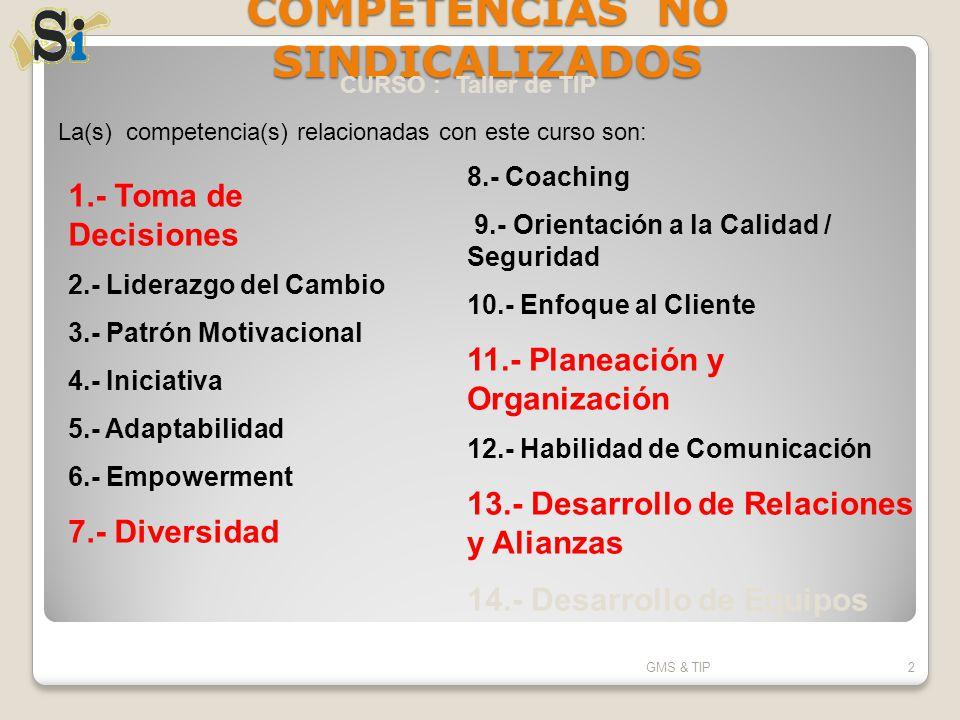 COMPETENCIAS NO SINDICALIZADOS GMS & TIP2 La(s) competencia(s) relacionadas con este curso son: 1.- Toma de Decisiones 2.- Liderazgo del Cambio 3.- Pa