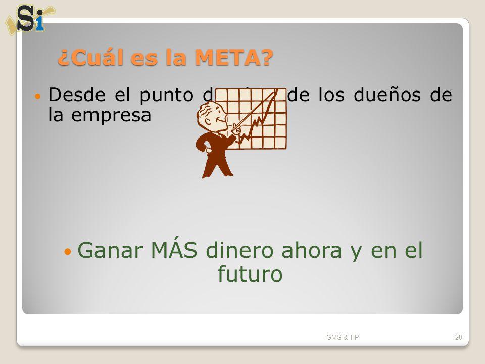 ¿Cuál es la META? Desde el punto de vista de los dueños de la empresa Ganar MÁS dinero ahora y en el futuro GMS & TIP28