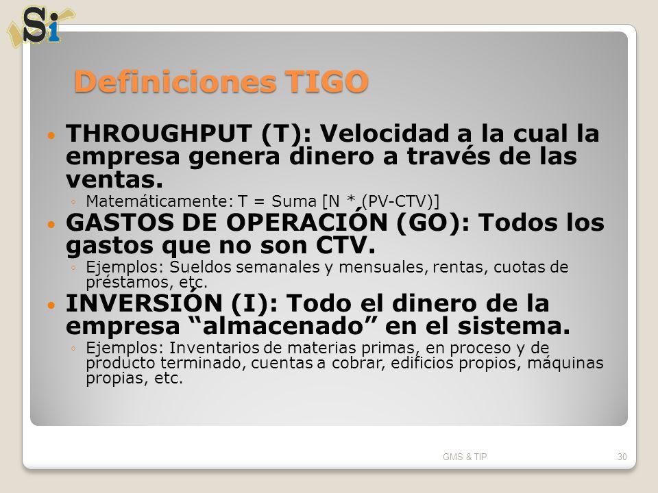 Definiciones TIGO THROUGHPUT (T): Velocidad a la cual la empresa genera dinero a través de las ventas. Matemáticamente: T = Suma [N * (PV-CTV)] GASTOS