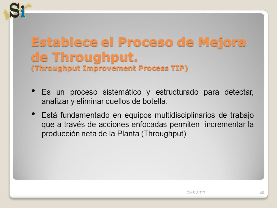Establece el Proceso de Mejora de Throughput. (Throughput Improvement Process TIP) GMS & TIP46 Es un proceso sistemático y estructurado para detectar,