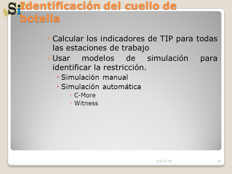 Identificación del cuello de botella Calcular los indicadores de TIP para todas las estaciones de trabajo Usar modelos de simulación para identificar