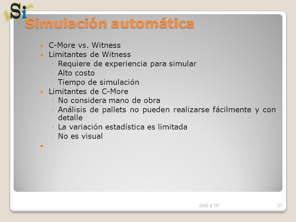 Simulación automática C-More vs. Witness Limitantes de Witness Requiere de experiencia para simular Alto costo Tiempo de simulación Limitantes de C-Mo