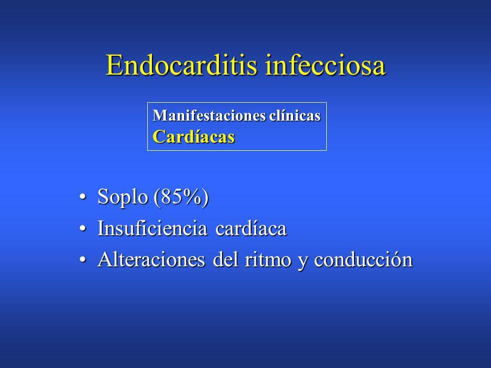 FiebreFiebre Soplo cardíacoSoplo cardíaco EsplenomegaliaEsplenomegalia Lesiones cutaneomucosasLesiones cutaneomucosas Hemocultivos (+) y aislamiento d