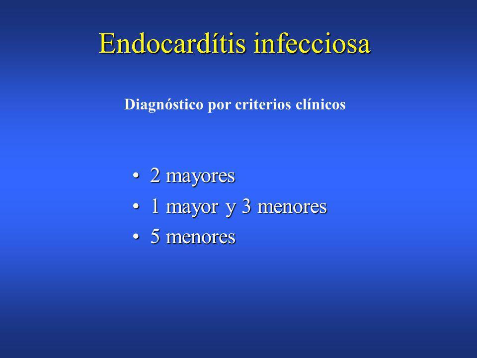 Endocarditis infecciosa Criterios Diagnósticos de DURACK (DUKE) Predisposición(afectación cardíaca previa)Predisposición(afectación cardíaca previa) Fiebre>38ºCFiebre>38ºC Fenómenos vascularesFenómenos vasculares »embolias,infarto pulmonar septico,aneurisma micotico »hemorragias,lesiones de Janeway Fenómenos inmunitariosFenómenos inmunitarios »glomerulonefritis,nódulo de Osler »manchas de Roth,factor reumatoide Pruebas microbiológicas(sin ser criterio mayor)Pruebas microbiológicas(sin ser criterio mayor) ECO compatible sin ser criterio mayorECO compatible sin ser criterio mayor CRITERIOS MENORES