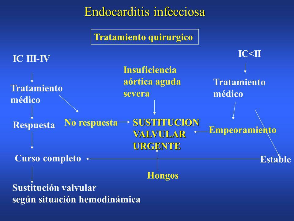 Endocarditis infecciosa EmboliasEmbolias Insuficiencia cardíacaInsuficiencia cardíaca Abcesos miocárdicos perivalvularesAbcesos miocárdicos perivalvulares Embolización no septicaEmbolización no septica Infección metastásicaInfección metastásica Complicaciones