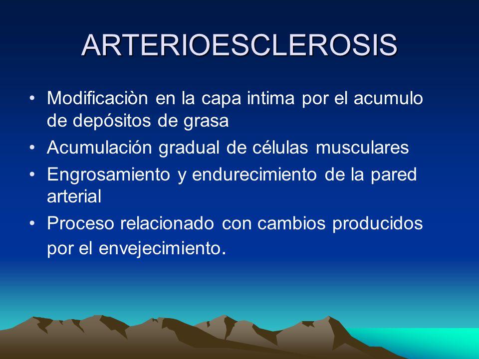 ARTERIOESCLEROSIS Modificaciòn en la capa intima por el acumulo de depósitos de grasa Acumulación gradual de células musculares Engrosamiento y endurecimiento de la pared arterial Proceso relacionado con cambios producidos por el envejecimiento.