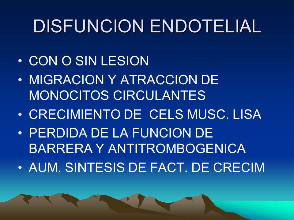 DISFUNCION ENDOTELIAL CON O SIN LESION MIGRACION Y ATRACCION DE MONOCITOS CIRCULANTES CRECIMIENTO DE CELS MUSC.