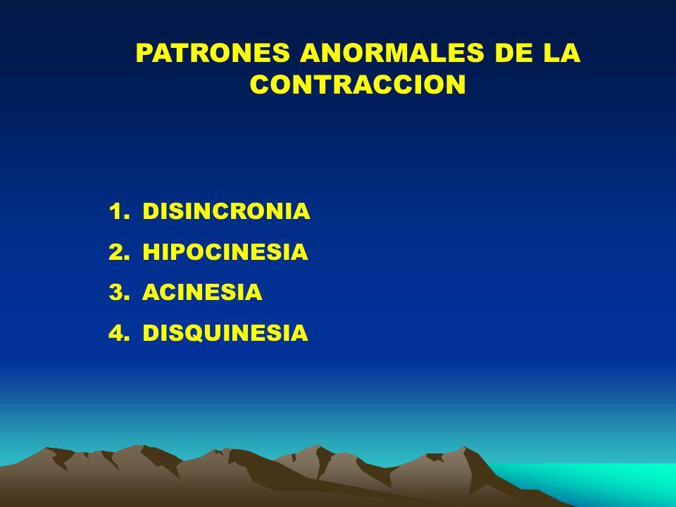 PATRONES ANORMALES DE LA CONTRACCION 1.DISINCRONIA 2.HIPOCINESIA 3.ACINESIA 4.DISQUINESIA