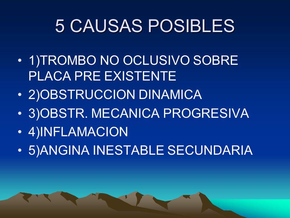 5 CAUSAS POSIBLES 1)TROMBO NO OCLUSIVO SOBRE PLACA PRE EXISTENTE 2)OBSTRUCCION DINAMICA 3)OBSTR.