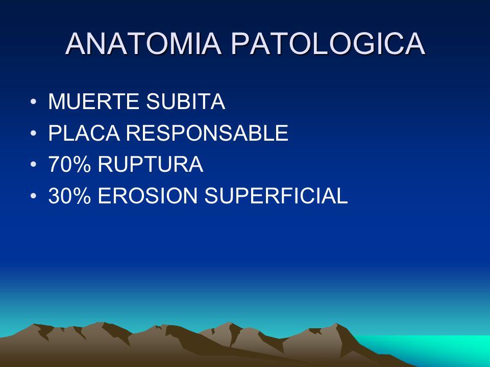ANATOMIA PATOLOGICA MUERTE SUBITA PLACA RESPONSABLE 70% RUPTURA 30% EROSION SUPERFICIAL