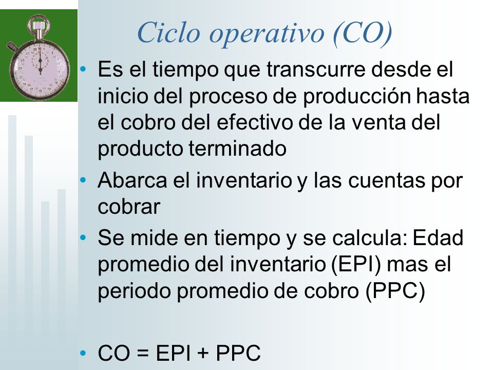 Ciclo operativo (CO) Es el tiempo que transcurre desde el inicio del proceso de producción hasta el cobro del efectivo de la venta del producto termin