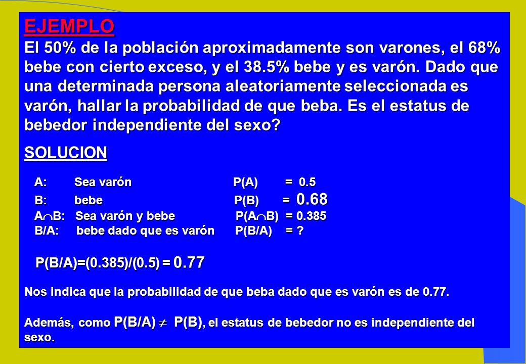 PROPIEDADES (Probabilidad condicional) Si P(H) 0, entonces : _ 1.- P (D/H) = 1 - P( D/H) 2.- P( /H) = 1 3.- Si A, B son disjuntos en H, tenemos que: P