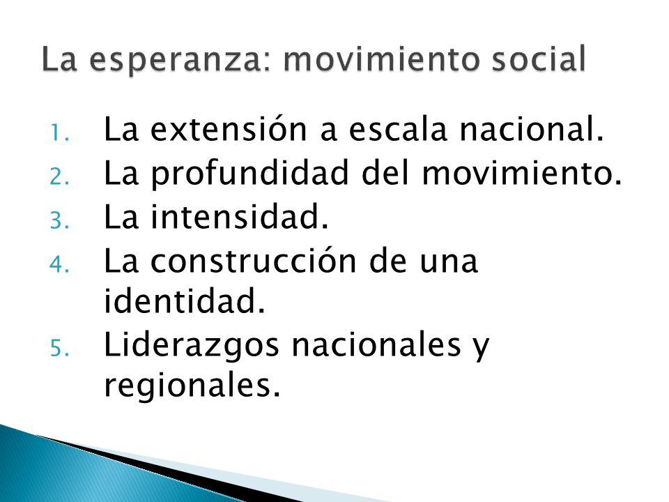 1. La extensión a escala nacional. 2. La profundidad del movimiento. 3. La intensidad. 4. La construcción de una identidad. 5. Liderazgos nacionales y