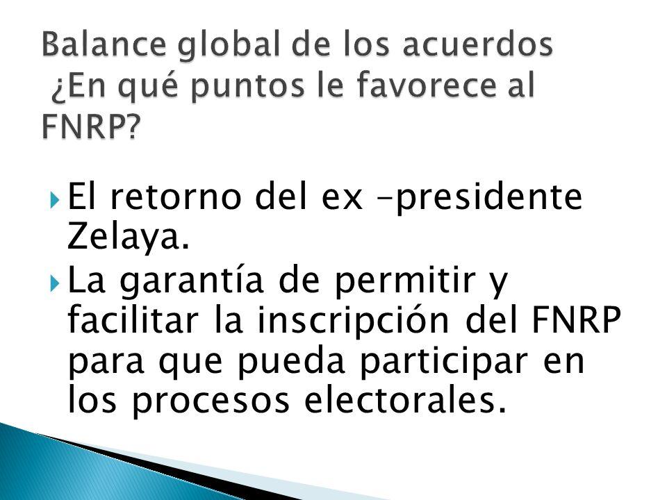 El retorno del ex –presidente Zelaya. La garantía de permitir y facilitar la inscripción del FNRP para que pueda participar en los procesos electorale