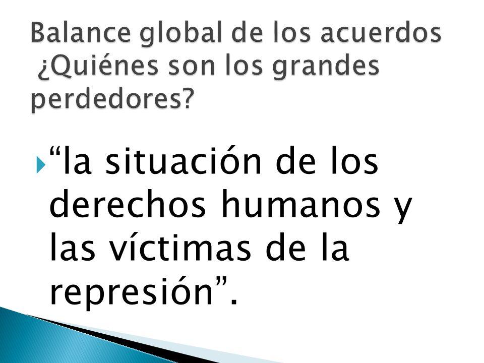 la situación de los derechos humanos y las víctimas de la represión.