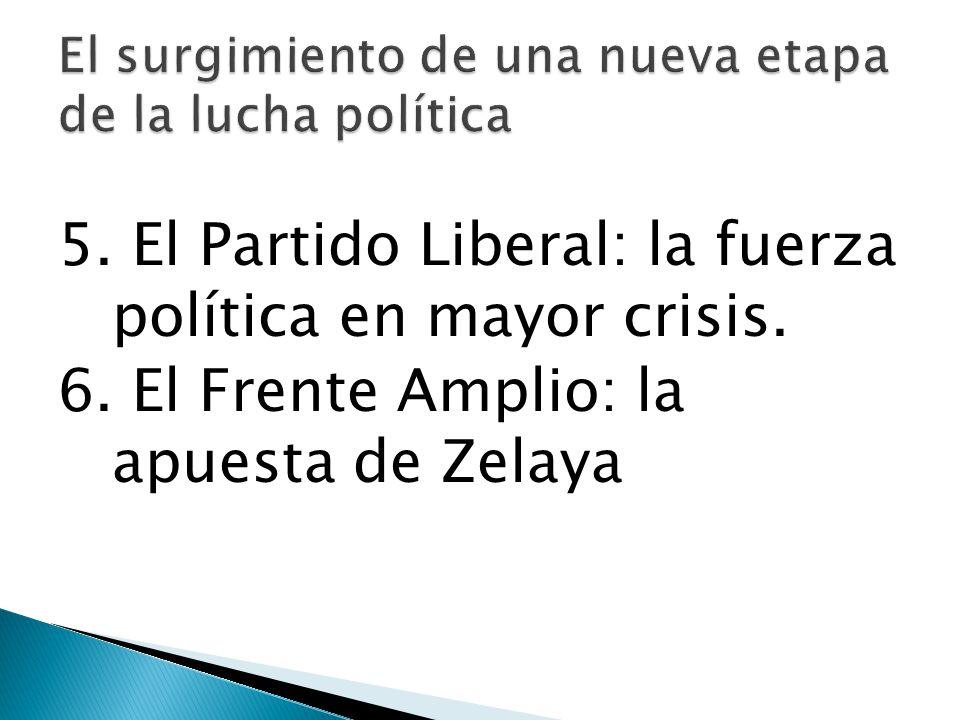 5. El Partido Liberal: la fuerza política en mayor crisis. 6. El Frente Amplio: la apuesta de Zelaya