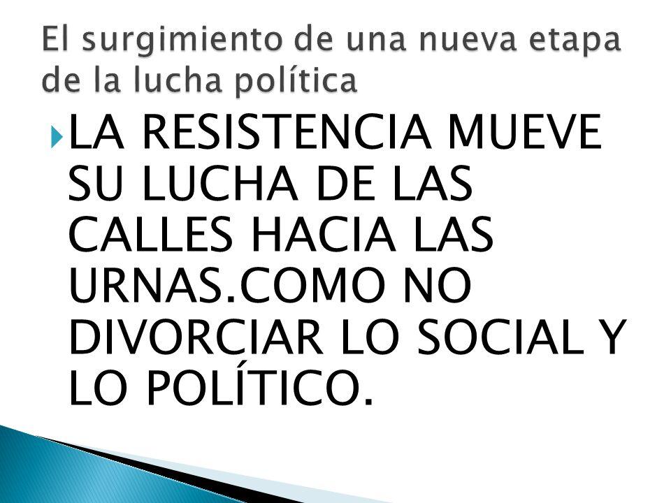 LA RESISTENCIA MUEVE SU LUCHA DE LAS CALLES HACIA LAS URNAS.COMO NO DIVORCIAR LO SOCIAL Y LO POLÍTICO.