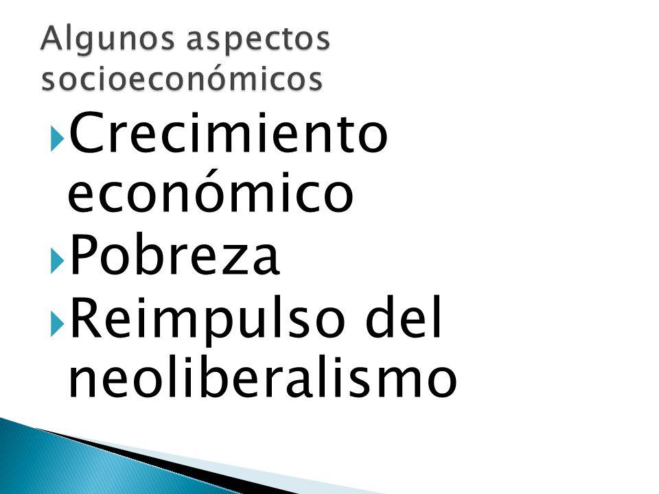 Crecimiento económico Pobreza Reimpulso del neoliberalismo