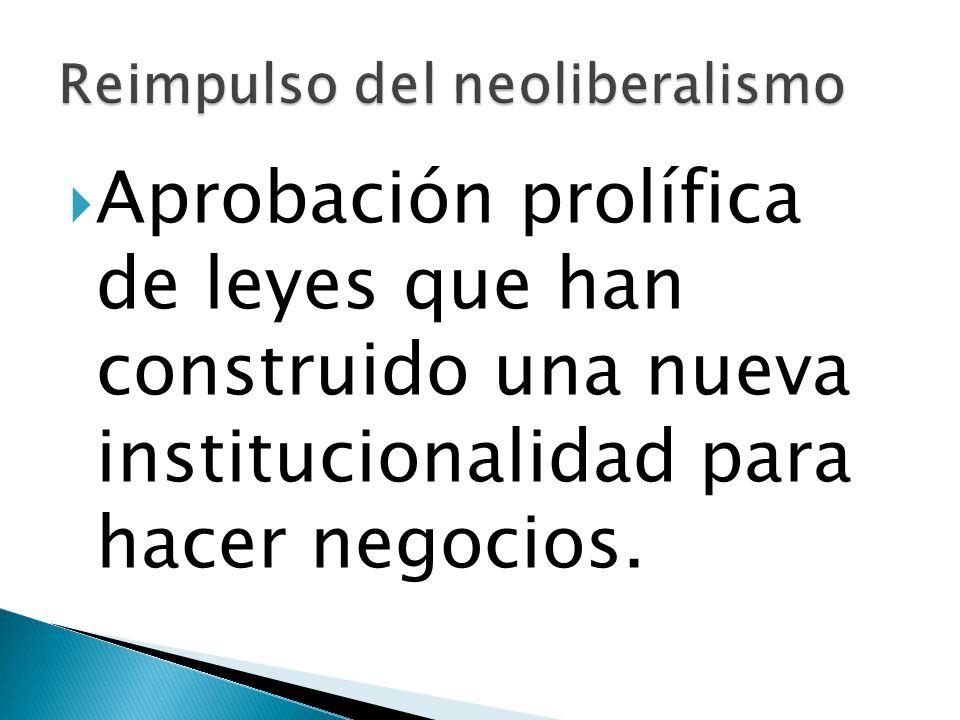 Aprobación prolífica de leyes que han construido una nueva institucionalidad para hacer negocios.