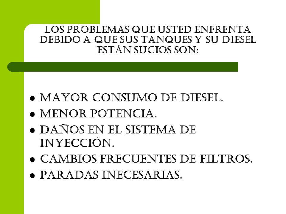 Los problemas que usted enfrenta debido a que sus tanques y su diesel están sucios son: MAYOR consumo de Diesel. MENOR POTENCIA. DAÑOS EN EL SISTEMA D