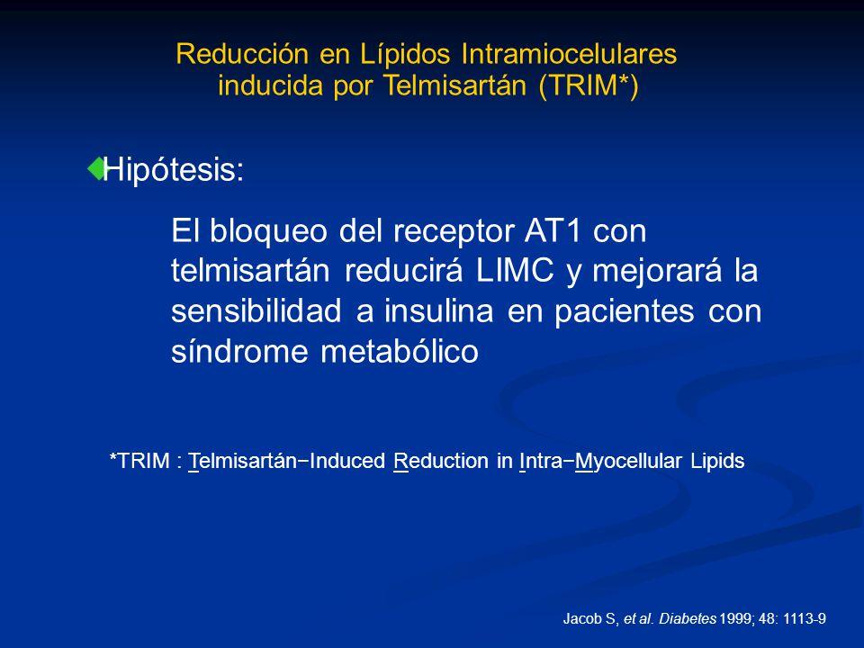 Reducción en Lípidos Intramiocelulares inducida por Telmisartán (TRIM*) *TRIM : TelmisartánInduced Reduction in IntraMyocellular Lipids Hipótesis: El