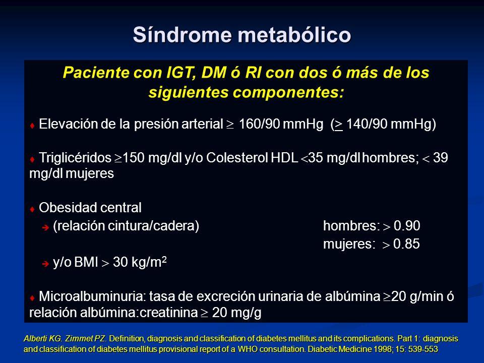 Síndrome metabólico Paciente con IGT, DM ó RI con dos ó más de los siguientes componentes: Elevación de la presión arterial 160/90 mmHg (> 140/90 mmHg