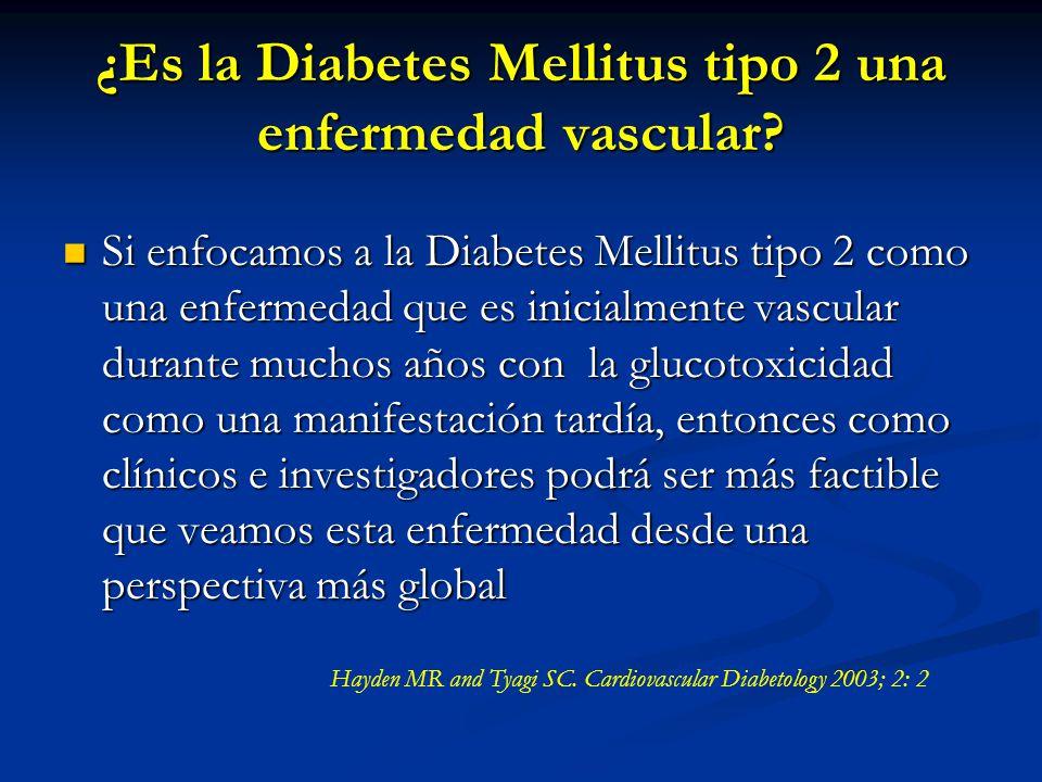 ¿Es la Diabetes Mellitus tipo 2 una enfermedad vascular? Si enfocamos a la Diabetes Mellitus tipo 2 como una enfermedad que es inicialmente vascular d