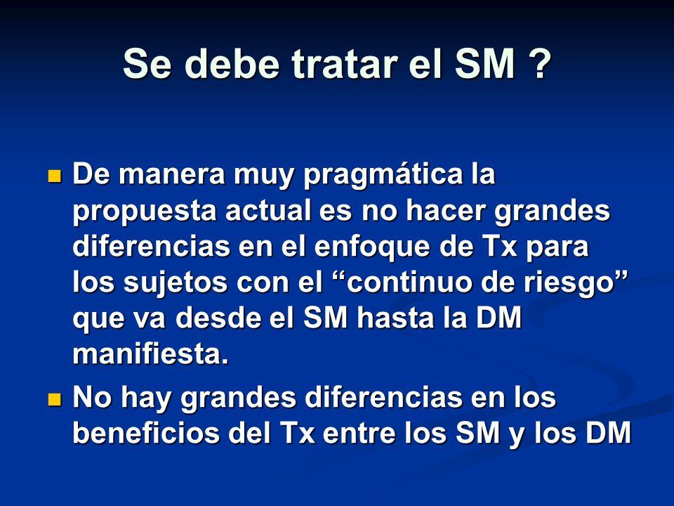 Se debe tratar el SM ? De manera muy pragmática la propuesta actual es no hacer grandes diferencias en el enfoque de Tx para los sujetos con el contin