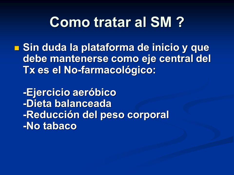 Como tratar al SM ? Sin duda la plataforma de inicio y que debe mantenerse como eje central del Tx es el No-farmacológico: -Ejercicio aeróbico -Dieta