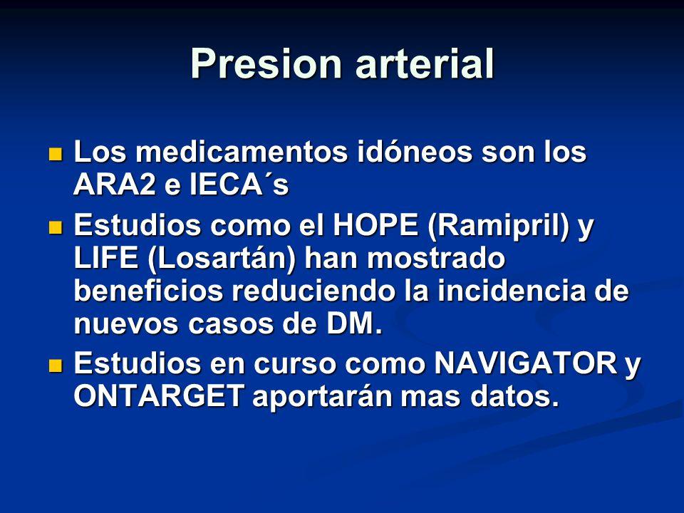 Presion arterial Los medicamentos idóneos son los ARA2 e IECA´s Los medicamentos idóneos son los ARA2 e IECA´s Estudios como el HOPE (Ramipril) y LIFE