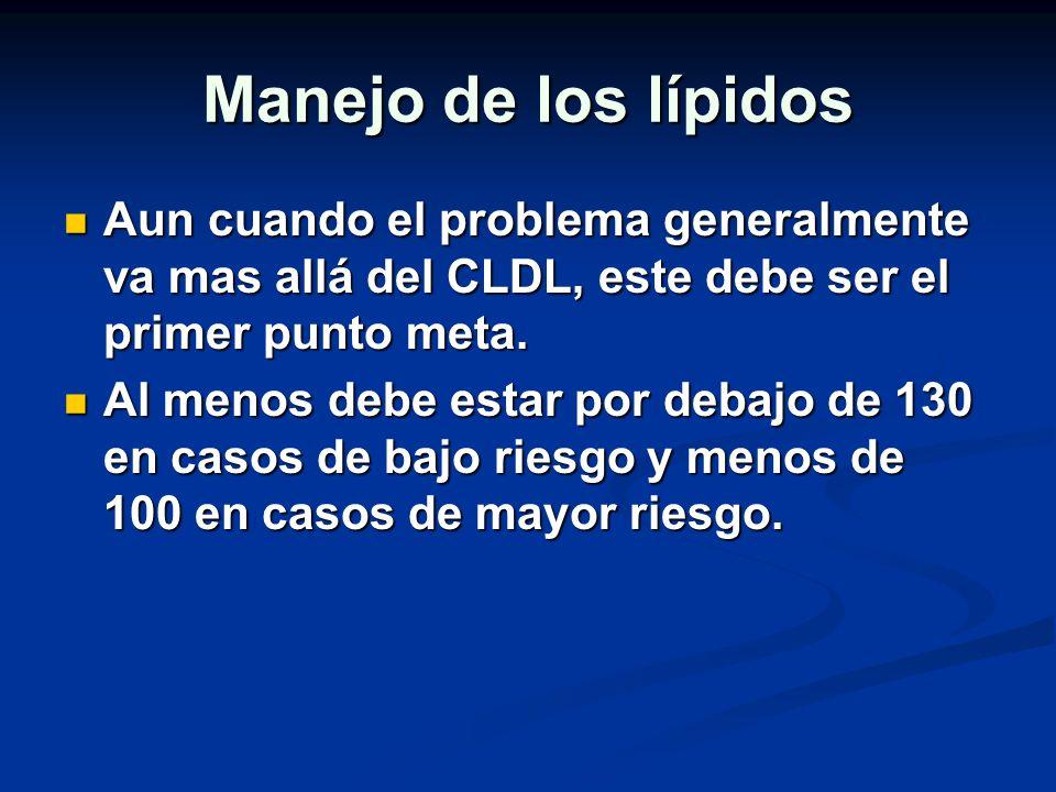 Manejo de los lípidos Aun cuando el problema generalmente va mas allá del CLDL, este debe ser el primer punto meta. Aun cuando el problema generalment