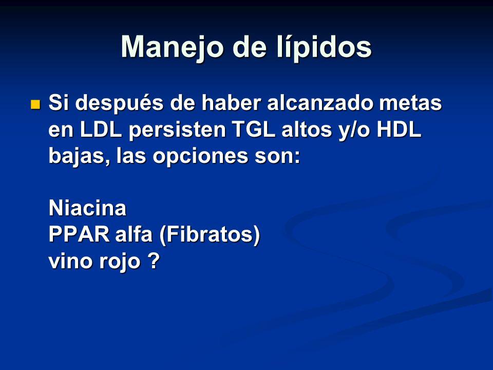 Manejo de lípidos Si después de haber alcanzado metas en LDL persisten TGL altos y/o HDL bajas, las opciones son: Niacina PPAR alfa (Fibratos) vino ro
