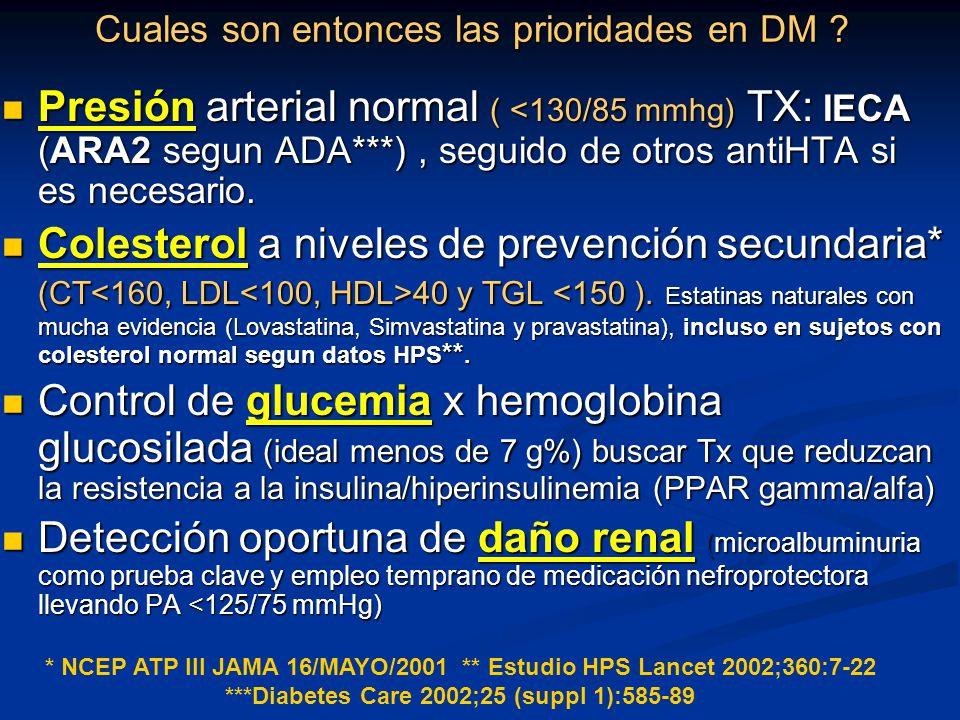 Cuales son entonces las prioridades en DM ? Presión arterial normal ( <130/85 mmhg) TX: IECA (ARA2 segun ADA***), seguido de otros antiHTA si es neces