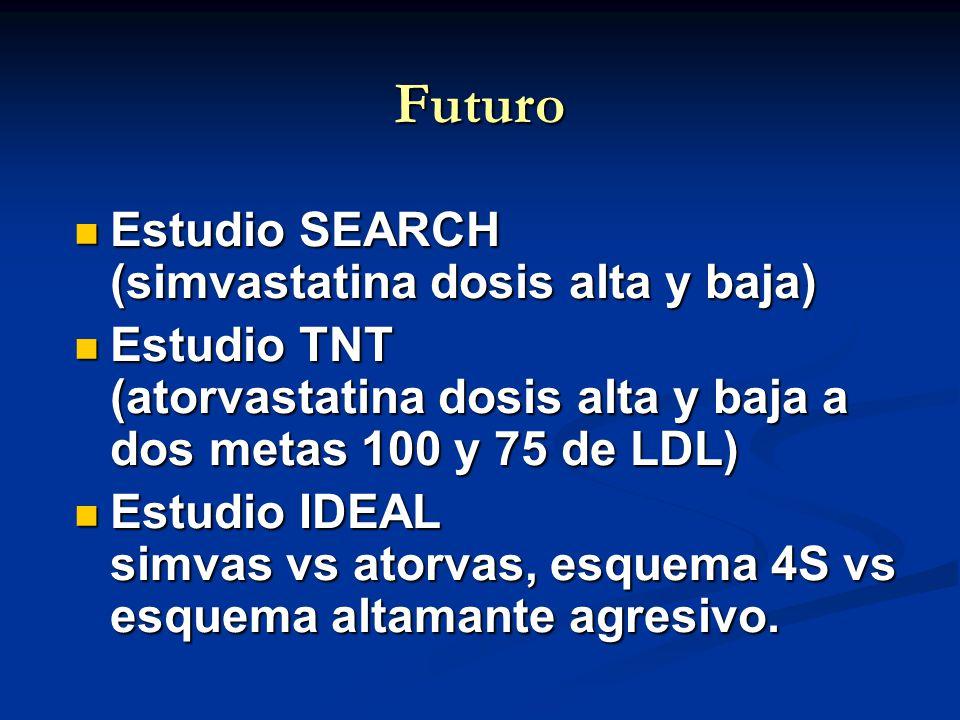 Futuro Estudio SEARCH (simvastatina dosis alta y baja) Estudio SEARCH (simvastatina dosis alta y baja) Estudio TNT (atorvastatina dosis alta y baja a