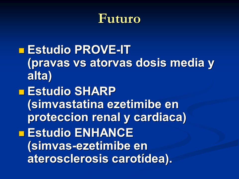 Futuro Estudio PROVE-IT (pravas vs atorvas dosis media y alta) Estudio PROVE-IT (pravas vs atorvas dosis media y alta) Estudio SHARP (simvastatina eze