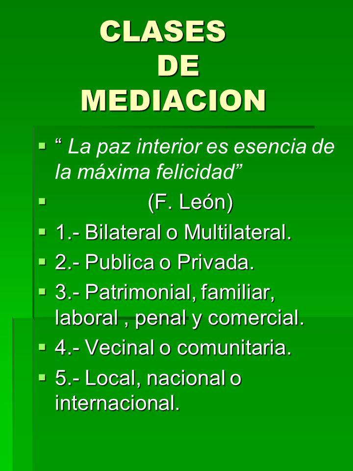 CLASES DE MEDIACION CLASES DE MEDIACION La paz interior es esencia de la máxima felicidad (F. León) (F. León) 1.- Bilateral o Multilateral. 1.- Bilate