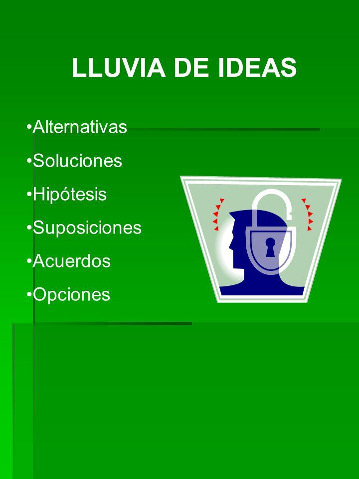 LLUVIA DE IDEAS Alternativas Soluciones Hipótesis Suposiciones Acuerdos Opciones