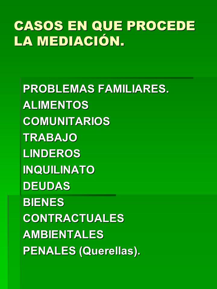 CASOS EN QUE PROCEDE LA MEDIACIÓN. PROBLEMAS FAMILIARES. ALIMENTOSCOMUNITARIOSTRABAJOLINDEROSINQUILINATODEUDASBIENESCONTRACTUALESAMBIENTALES PENALES (