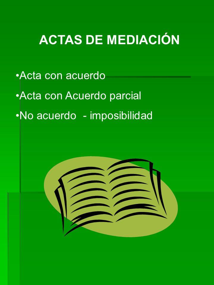 ACTAS DE MEDIACIÓN Acta con acuerdo Acta con Acuerdo parcial No acuerdo - imposibilidad
